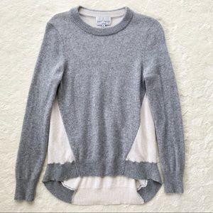 Belle France gray cream 2 ply cashmere sweater high low hem medium